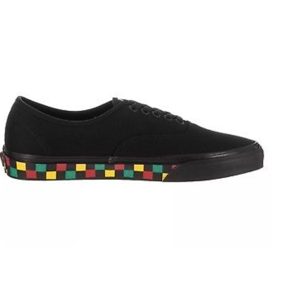 Vans Authentic Checker Tape Black Rasta Skateboard 845d2d519